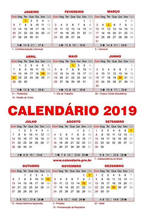 Feriados 2019 | Calendário