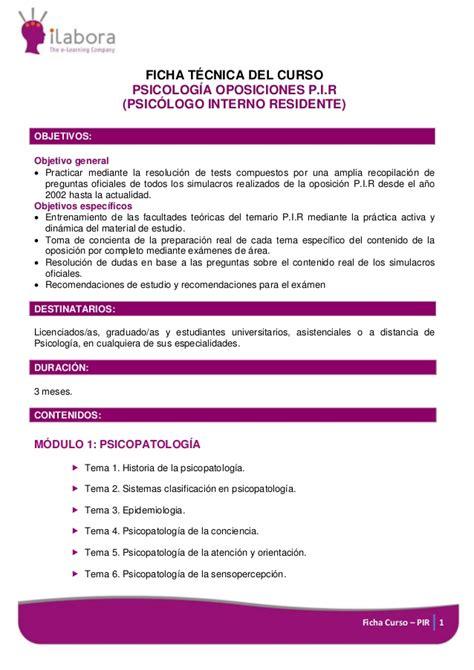 Ficha Curso Online Psicología Oposiciones P.I.R  Psicólogo ...