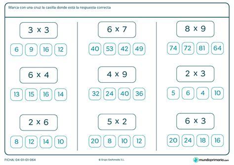 Ficha de marcar la solución de multiplicaciones para Primaria