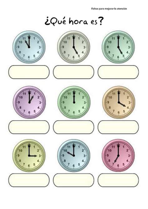 Fichas con ejercicios para aprender las horas del reloj ...