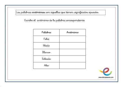 Fichas de lengua para primaria: Sinónimos y antónimos