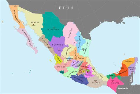 File:Mapa político de México a color (nombres de estados y ...