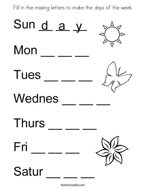 Fill in the missing letters to make the days of the week ...