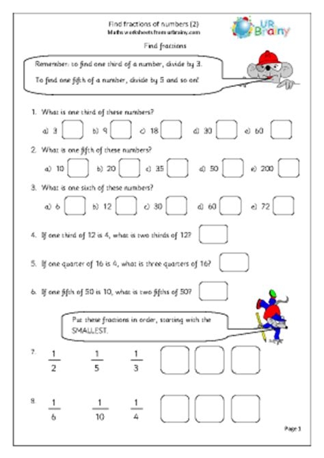 Find fractions of numbers (2)