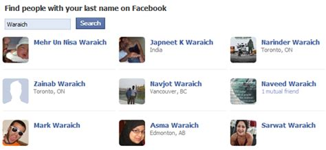 Find People by their Family Name on Facebook
