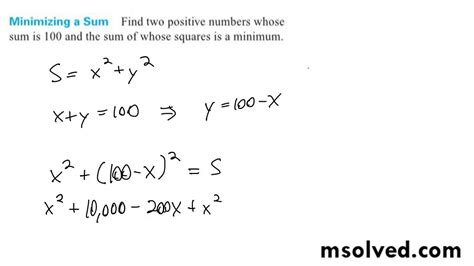 Find two positive numbers whose sum is 100 and the sum of ...