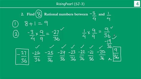 Finding rational numbers between rational numbers using 2 ...