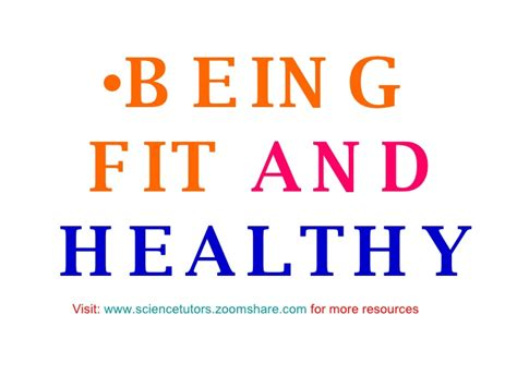 FIT AND HEALTHY FOR SCIENCE LESSONS