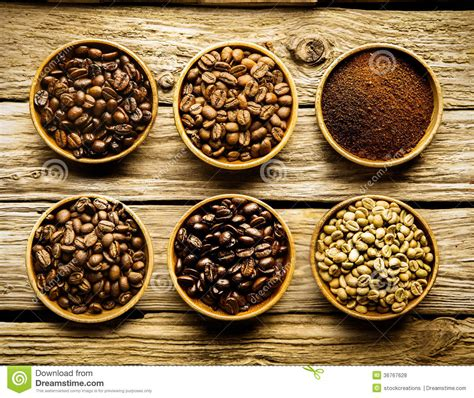 Five Varieties Of Coffee Beans And Powder Stock Photo ...