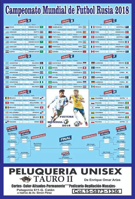 Fixture Mundial De Futbol Rusia 2018 -20 X 30 Cm X 6 - S ...