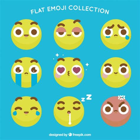 Flat emoticons with brown details Vector | Free Download