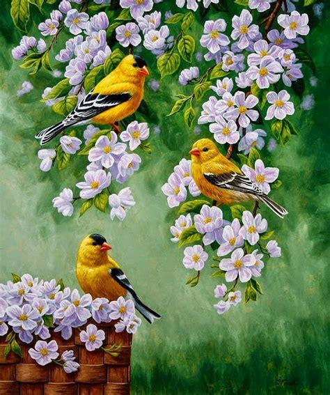 flores-y-pajaros-cuadros-pintados-con-oleo | Art by Crista ...