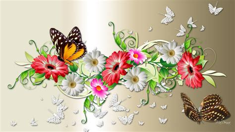 Flowers and Butterflies Full HD Wallpaper and Background ...