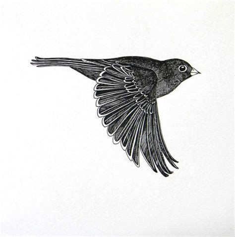 Flying bird original ink drawing | Bird, Originals and Tattoo