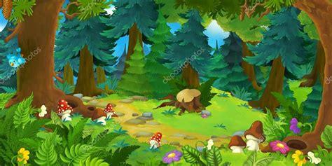 Fondo de dibujos animados de un bosque — Foto de stock ...