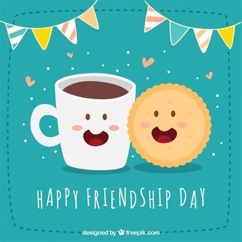 Fondo de feliz día de la amistad con galleta y café ...