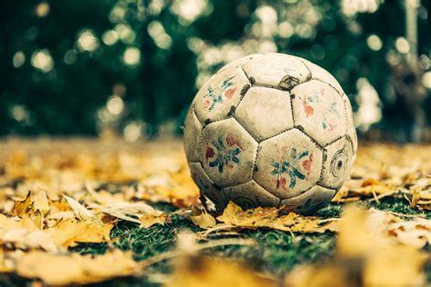 Fondo de Pantalla de Balón, Fútbol, Hojas, Cesped, Hierba ...