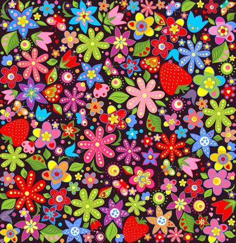 Fondo de pantalla de primavera con flores y fresas ...