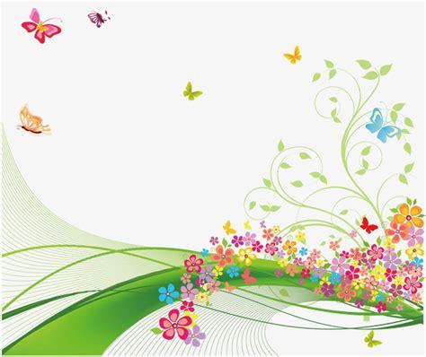 Fondo De Primavera, Mariposa, Flores, Verde PNG y Vector ...