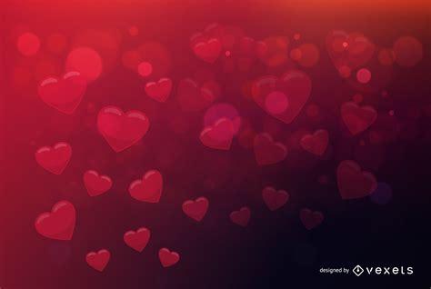 Fondo de San Valentín bokeh fluorescente Corazones ...