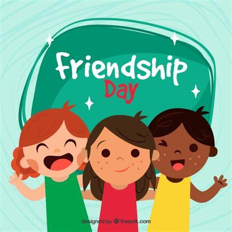 Fondo del día de la amistad con tres niños   Descargar ...