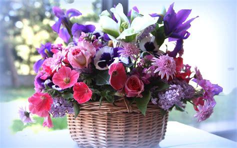 Fondos de pantalla Cesta, muchas clases de flores ...