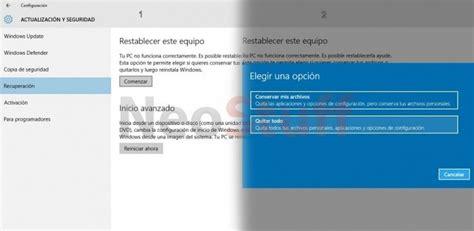 Formatear desde restablecer equipo Windows 10 | NeoStuff