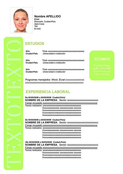 Formato de Curriculum Vitae en Español | Formatos de CV
