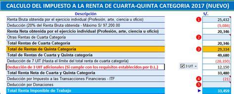 Formato en Excel para Cálculo del Impuesto a la Renta de ...