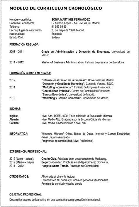formatos de resume en word