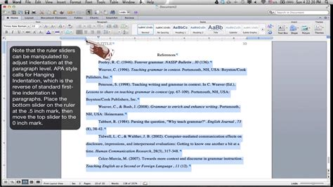 Formatting an APA Style References Page  MS Word for Mac ...