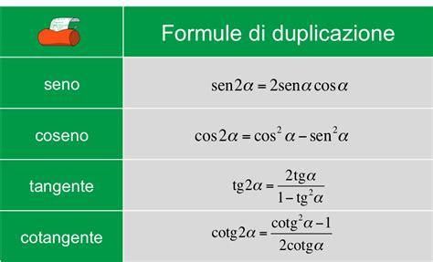 Formule di duplicazione di seno, coseno, tangente e ...