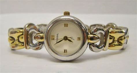 Fossil f2 es-8678 womens two tone wrist watch bracelet ...