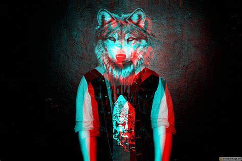 Foto en 3D anaglifo de kiowa gordon con una cabeza de lobo ...