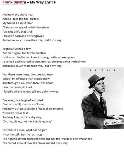 Frank Sinatra - My Way | Lyrics to Songs & Poems ...