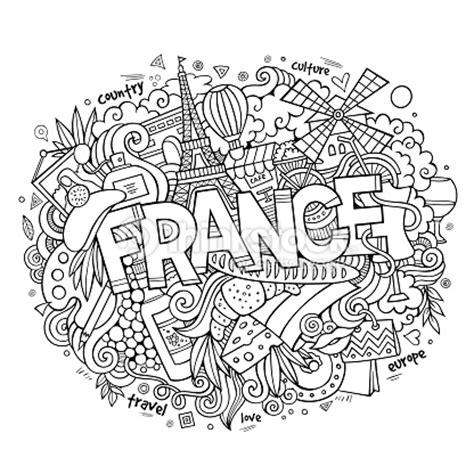 Frankreich Land Hand Schriftzug Und Kritzeleien Elemente ...