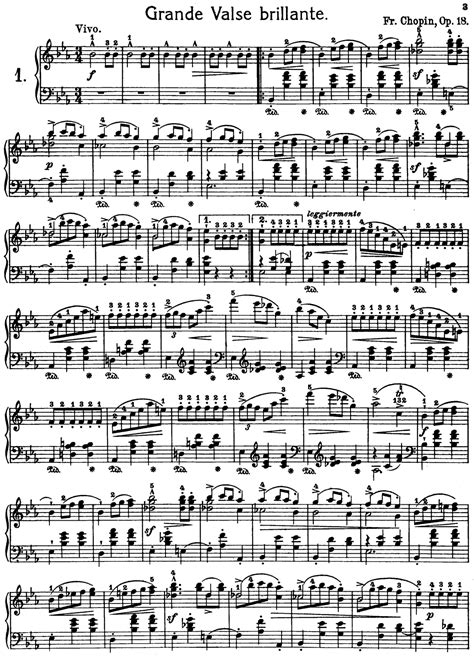 Frederic Chopin Grand Waltz op.18 Free Printable Sheet ...