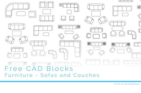 Free CAD Blocks - Sofas and Couches | First In Architecture