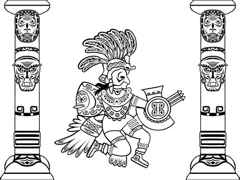 Free coloring page coloring-adult-quetzalcoatl-and-totems ...