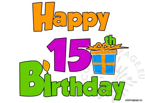 Free coloring pages of 15th birthday
