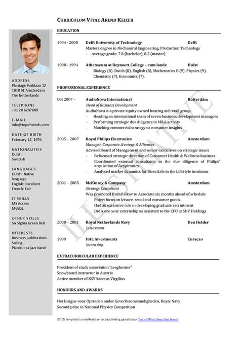 Free Curriculum Vitae Template Word | Download CV template ...
