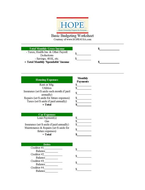 Free Gift: HOPE's Basic Budgeting Worksheet — Hope4USA
