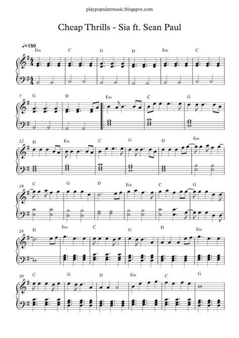 Free piano sheet music: Cheap Thrills - Sia ft. Sean Paul ...