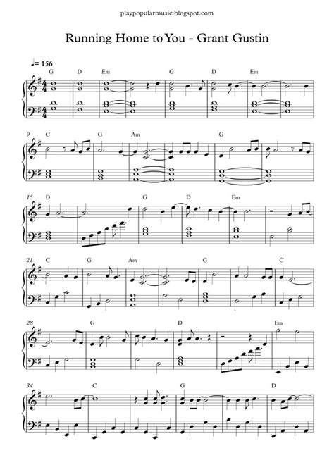 Free piano sheet music: Grant Gustin - Running Home to You ...