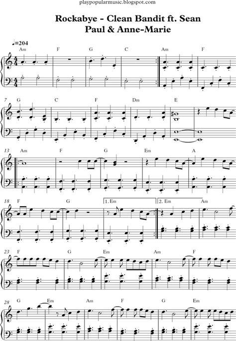Free piano sheet music: Rockabye - clean bandit ft. sean ...