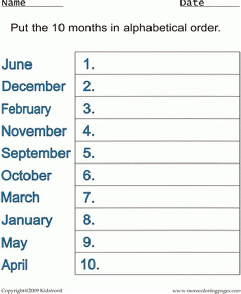 Free Printable Months Of The Year Worksheets For ...