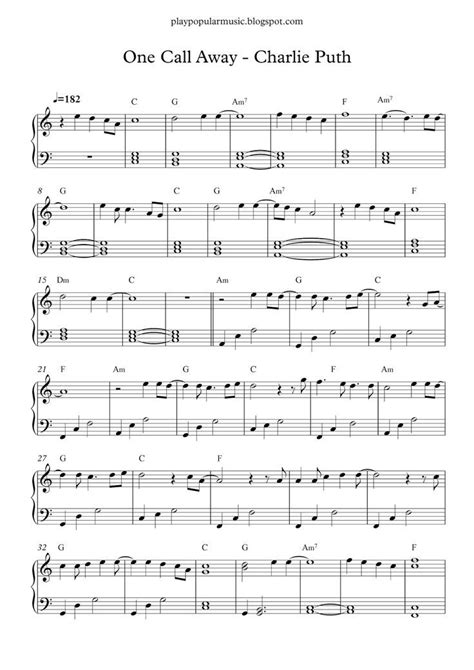 Free Printable Piano Sheet Music For Popular Songs ...