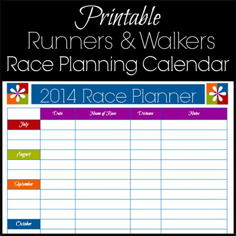 Free Printable Race Planning Calendar for Runners 5k to ...