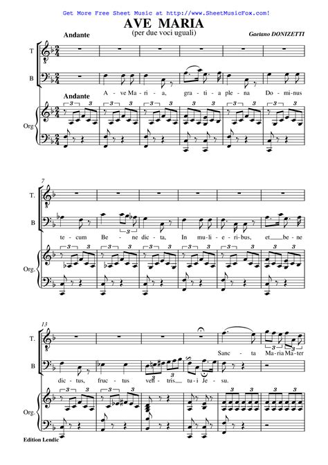 Free sheet music for Ave Maria  Donizetti, Gaetano  by ...