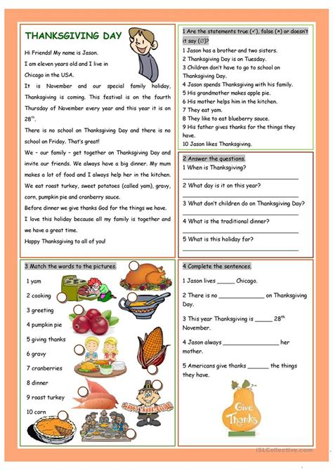 Free Thanksgiving Worksheets For Reading Comprehension ...